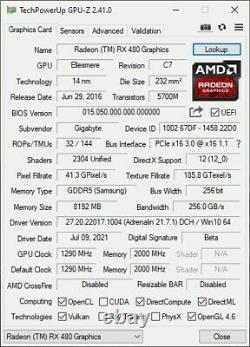 Gigabyte Radeon RX 480 GPU Graphics Card 8GB GDDR5 PCI Express 3.0 GV-RX480G1